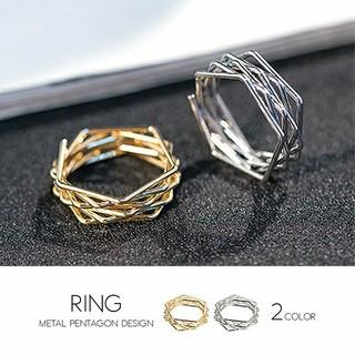 レディース デザイン リング ゴールド シルバー 17号(リング(指輪))