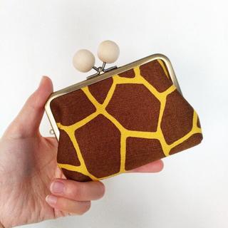 きりんさんの親子がま口のお財布 白木玉(財布)