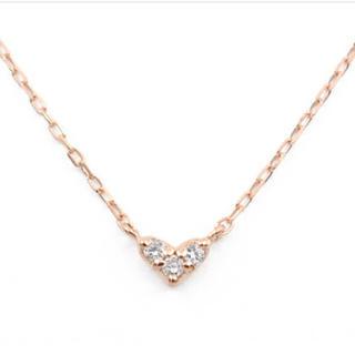 4℃ - 新品 k10 ハート ダイヤ ネックレス ♡ 10金 ダイヤモンド