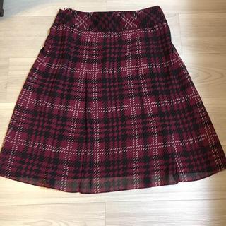 アンタイトル(UNTITLED)のチェック シフォン ボックスプリーツスカート(ひざ丈スカート)
