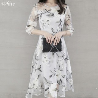 新品 花柄ワンピースドレスパーティーデート S 結婚式 リゾートドレス白(ミディアムドレス)