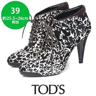 トッズ(TOD'S)の美品❤️トッズ ハラコ レースアップ ショートブーツ 39(約25.5-26cm(ブーツ)