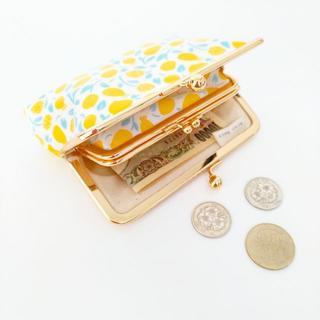 ラミネート☆お札が二つ折りで入る親子がま口のお財布(ハニーレモン)(財布)