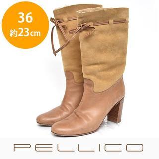 ペリーコ(PELLICO)のペリーコ インナーファー スウェード ミドルブーツ 36(約23cm)(ブーツ)