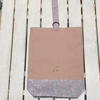 なな様☆くすみピンク×グレー花柄×さくらんぼワッペン シューズバッグ確認ページ(バッグ/レッスンバッグ)