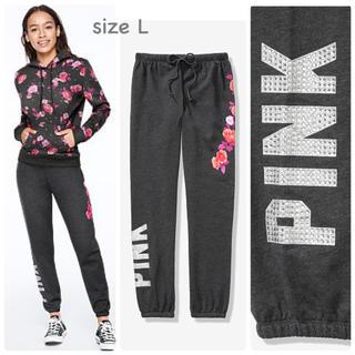 ヴィクトリアズシークレット(Victoria's Secret)の【新品】VS PINK bling スウェットパンツ ローズ L(トレーナー/スウェット)