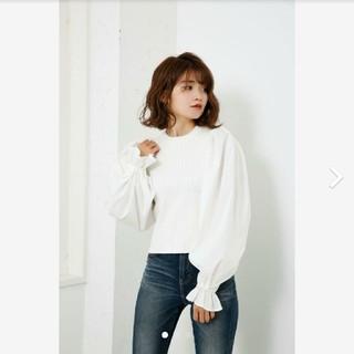 rienda - rienda リエンダ Shirt SLV Combi KNIT TOP 白