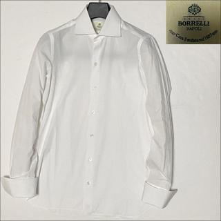 ルイジボレッリ(LUIGI BORRELLI)の10336美品 ルイジボレッリ ダブルカフス ワイドカラー ドレスシャツ白39(シャツ)