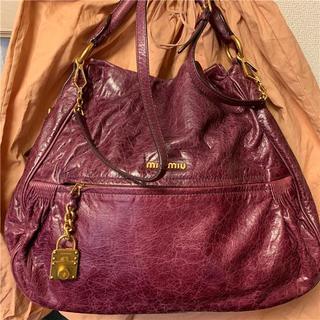 綺麗 miumiu 約22万 大型2wayビンテージレザーバッグ