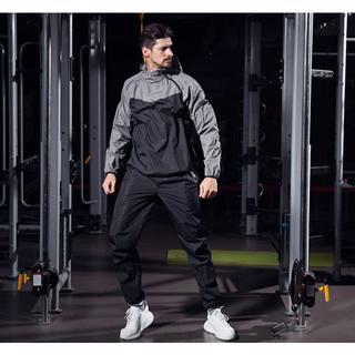 新品 サウナスーツ グレー 2XLサイズ メンズ 上下セット ジョギング (トレーニング用品)