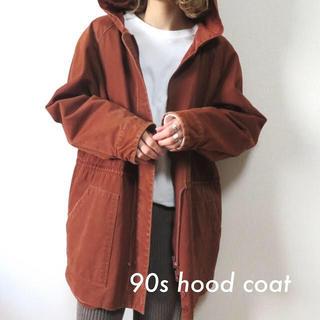 サンタモニカ(Santa Monica)の90s フーデッドコート パーカー ブラウン 古着 vintage(ロングコート)