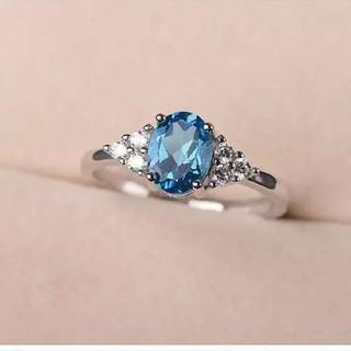 【高評価高品質AAA級】気品あふれる美しいすぎるブルートパーズ指輪フリーサイズ(リング(指輪))