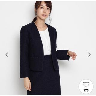オペーク(OPAQUE)のオペーク  ジャケット 紺色 M レディース ノーカラー ツィード(ノーカラージャケット)