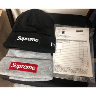 シュプリーム(Supreme)のSupreme 18AW New Era Box Logo Beanie 黒&灰(ニット帽/ビーニー)