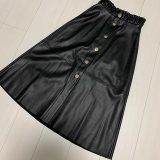 ZARA - ザラ フロントボタン レザースカート  ブラック