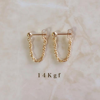 ete - K14gf/14Kgf ショートチェーンフープピアス/フレンチロープピアス