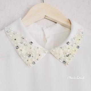 リランドチュール(Rirandture)のリランドチュール♥️襟ビジューブラウス ホワイト(シャツ/ブラウス(半袖/袖なし))