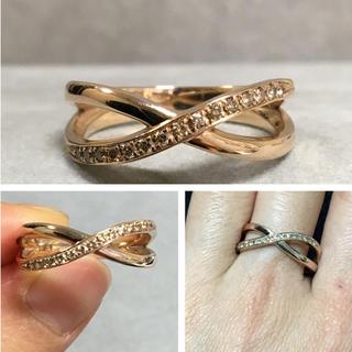 750 0.15カラット クロスした形のダイヤモンドリング(リング(指輪))