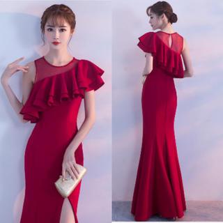 Lサイズ 赤 ワンショルダー フリル キャバドレス ワンピ ドレス セクシー(ロングドレス)