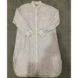 ムジルシリョウヒン(MUJI (無印良品))のフレンチリネン洗いざらしストライプシャツワンピースS・オフ白(ひざ丈ワンピース)