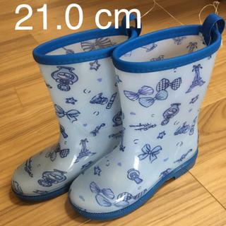 motherways - マザウェイズ 長靴  レインブーツ 21cm 水色 青 エッフェル塔 リボン