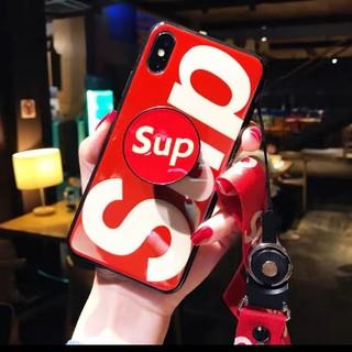 iPhone - 新品赤iPhone ポップソケット付き ケース