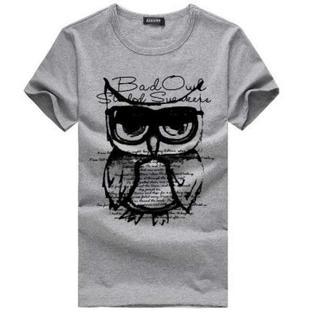処分 人気 半袖 Tシャツ メンズ レディース ふくろうデザイン L グレー(Tシャツ/カットソー(半袖/袖なし))