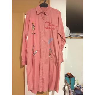 ロングシャツ襟付きワンピース(ひざ丈ワンピース)