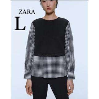 ZARA - 【新品・未使用】ZARA コントラスト ギンガムチェック トップス L