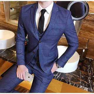 紳士 チェック柄 スーツジャケット セットアップ着痩 せスーツメンズzb323