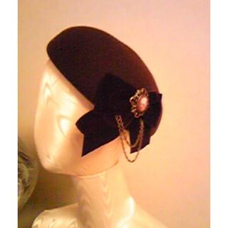 アリスアンドザパイレーツ(ALICE and the PIRATES)のTriple fortuneフェルトベレー 黒×黒(ハンチング/ベレー帽)