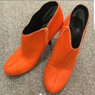 ツルバイマリコオイカワ(TSURU by Mariko Oikawa)のハラコ オレンジ ショートブーツ(ブーツ)