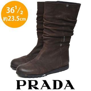 プラダ(PRADA)のプラダ サイドロゴ ルーズ ミドル ロング ブーツ 36 1/2(約23.5cm(ブーツ)
