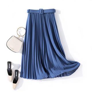 ZARA - ベルト付き 膝丈プリーツスカート インポート ブルー