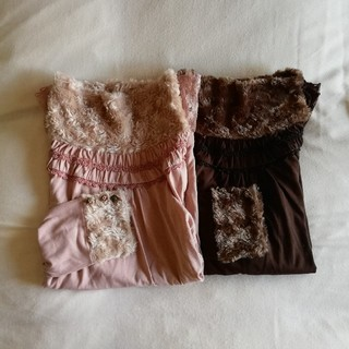 アクシーズファム(axes femme)のアクシーズファムのカットソー 薄いピンクと焦げ茶の2枚セット(バラ売り可)(カットソー(長袖/七分))