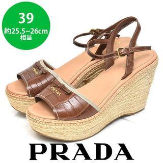 プラダ(PRADA)の美品❤️プラダ エスパドリーユ ロゴ ウェッジソール サンダル 39(約25.5(サンダル)