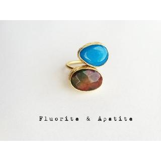 『フローライト&アパタイト』の世界でひとつの二粒天然石リング(リング(指輪))