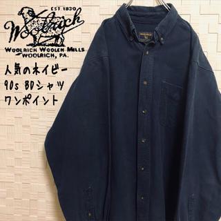 ウールリッチ(WOOLRICH)の【人気沸騰】90s ウールリッチ 大人気ダークカラーBDシャツ ワンポイントタブ(シャツ)