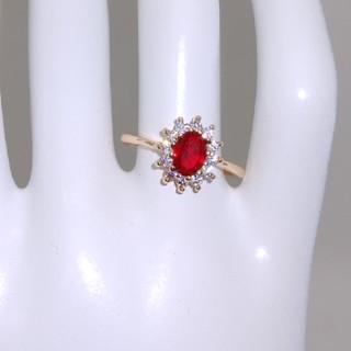 ピンクゴールド色(赤石) 指輪(リング(指輪))