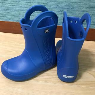 crocs - 美品!クロックス 長靴 ブルー  18.5cm
