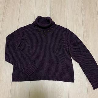 クレージュ(Courreges)のcourreges  セーター 紫 タートルネック(ニット/セーター)