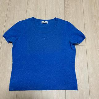 クレージュ(Courreges)のcourreges  カシミア 半袖 ニット ブルー(ニット/セーター)
