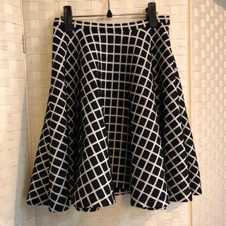 グレースコンチネンタル(GRACE CONTINENTAL)のダイアグラム 美品 ブロックチェックフレアスカート(ひざ丈スカート)