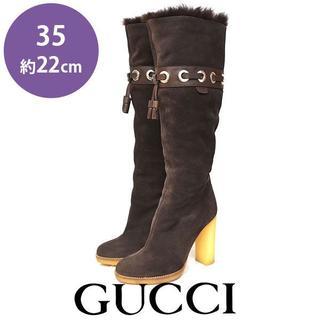グッチ(Gucci)の美品❤️グッチ ファー タッセル スウェード ロングブーツ 35(約22cm)(ブーツ)