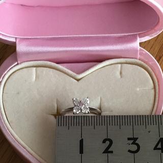 18KWG フラワー ピンクダイヤモンド ピンキーリング #3 鑑別書(リング(指輪))