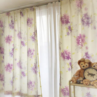 ニトリ - 横100×縦200 花柄カーテン 2枚組