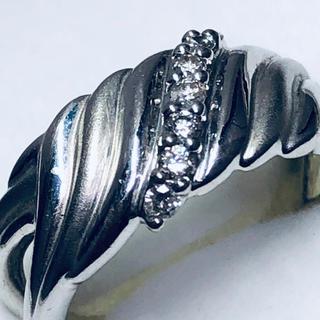 K18WG ダイヤ付き斜めラインの入った指輪(リング(指輪))