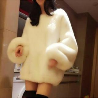 【大人気】セーター ニット ワンピース ロング もこもこ ランタン 大きめ 白(ニット/セーター)