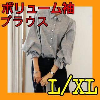 ボリューム袖 ストライプシャツ♥️送料無料(シャツ/ブラウス(長袖/七分))