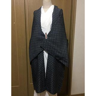洗える長羽織り☆黒とグレーのモノトーン羽織/塵よけ、和装羽織り、和装コート、道行